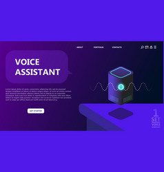 personal assistant smart speaker voice command d vector image