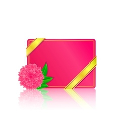 pink card with flower and leaf vector image