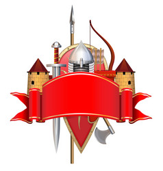 red banner with knight armor vector image
