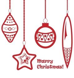 red christmas balls garland vector image