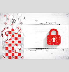 Red protection background technology security vector
