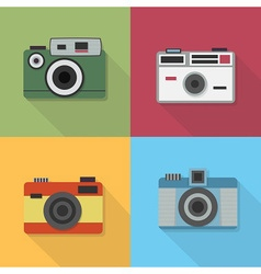 Retro camera icons set with long shadow vector image