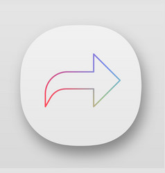 Right curved arrow app icon direction sign vector