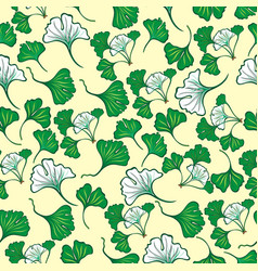 seamless floral pattern with ginkgo leaves vector image