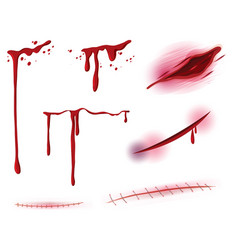 Set of blood and wound vector