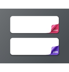 Set of horizontal banner template with curl vector