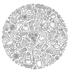 Set of massage salon doodle objects vector