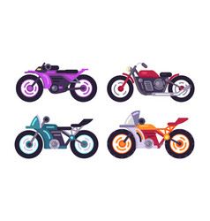 set of sportive bikes isolated motorized vehicles vector image