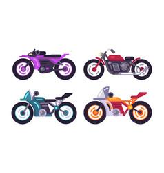 set sportive bikes isolated motorized vehicles vector image