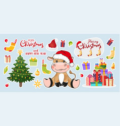 Set stickers for christmas and new year 2021 vector