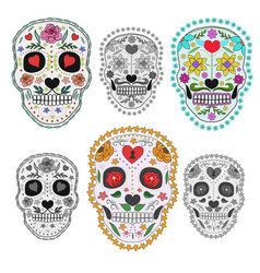 set sugar skulls design elements for poster vector image