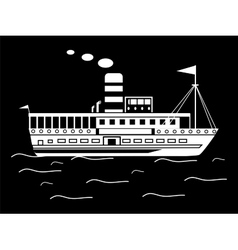 Silhouette little retro ship vector image