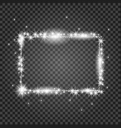 Silver frame with lights effects shining vector