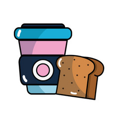Slice bread and coffee with plastic cup beverage vector