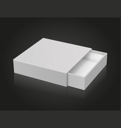 Slider box gray blank open box mock up on black vector