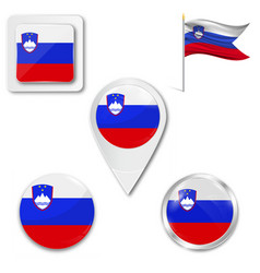 slovenia flag format country icon emblem vector image