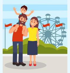 smiling parents standing together little son vector image