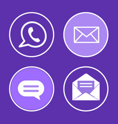 social network phone set icons vector image