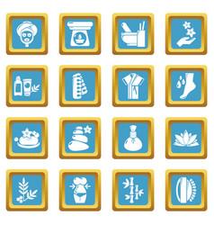 Spa salon icons set sapphirine square vector