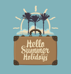 summer travel banner with suitcase palms and sun vector image