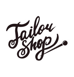 Tailor shop promo black logotype with sharp pin vector
