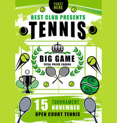 tennis tournament court balls and rackets vector image