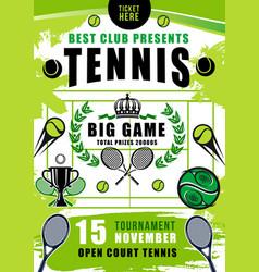 Tennis tournament court balls and rackets vector