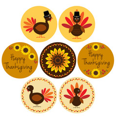 thanksgiving icons in circle frames vector image