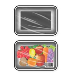 top view black polystyrene packaging mockup vector image