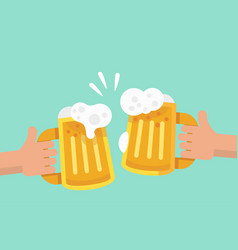 two hands holding and clinking two beer mug vector image