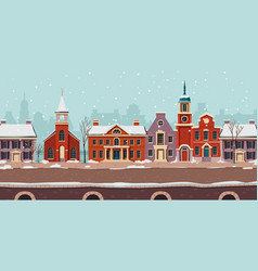 urban street winter landscape colonial buildings vector image