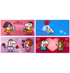 Valentines cartoon greeting card set vector