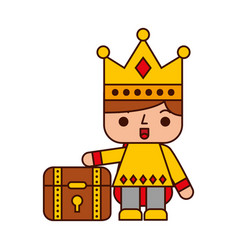 Video game prince with treasure chest avatar vector