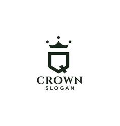 Vintage crown logo and letter q symbol modern vector