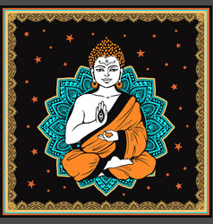 vintage meditating buddha vector image