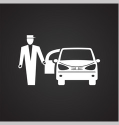 Wedding car icon on black background for graphic vector
