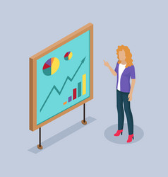 Woman presenter by whiteboard vector