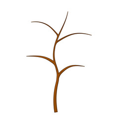 Wooden bush branch pole cartoon isolated on white vector