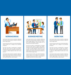 working process in office boss and employees vector image