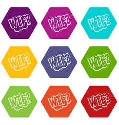 Wtf comic book bubble text icon set color vector
