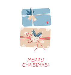 xmas and new year gifts on white background vector image