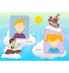 Yearbook about boy pirate and clouds with two kids vector image