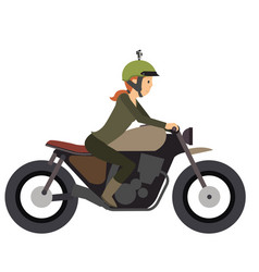 Young girl ride a motorcycle in flat vector