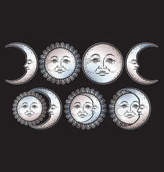 boho chic flash tattoo design sun and moon set vector image vector image