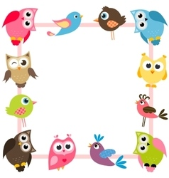 frame with funny colorful birds vector image