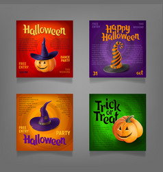 halloween party design set vector image