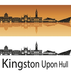 Kingston Upon Hull skyline in orange background vector image vector image