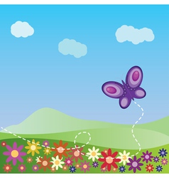 Summer landscape with butterfly vector image