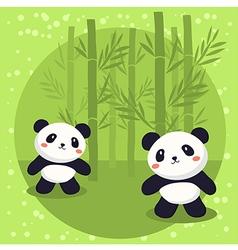 Two Little Panda Bear Bamboo vector image vector image