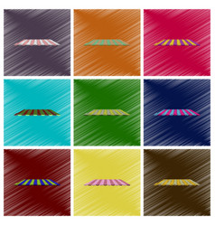 assembly flat shading style icons roof awning vector image